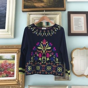 Embroidered navy Anthropologie sweater